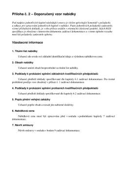 P íloha . 2 – Doporu ený vzor nabídky