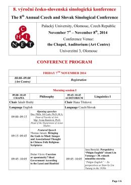 8. výroční česko-slovenská sinologická konference