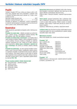 Vertikální článková nízkotlaká čerpadla CVFV Použití Konstrukce