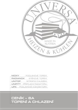 Ceník systémů UNIVERSA - 6A topení a chlazení 02/2011