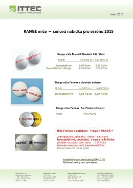 RANGE míče – cenová nabídka pro sezónu 2015