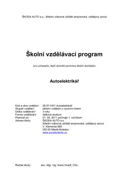 Školní vzdělávací program - ŠKODA AUTO as, Střední odborné