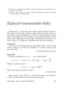 Zajímavé matematické úlohy - matematika–fyzika–informatika
