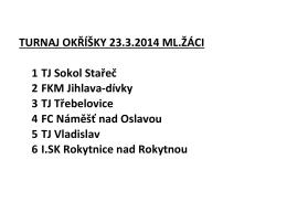 TURNAJ OKŘÍŠKY 23.3.2014 ML.ŽÁCI 1 TJ Sokol Stařeč 2 FKM