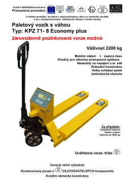 Paletový vozík s váhou Typ: KPZ 71- 8 Economy plus