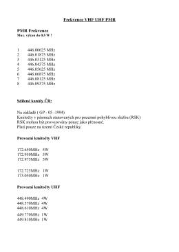 Frekvence VHF UHF PMR PMR Frekvence