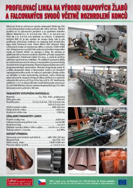 Profilovací linky na výrobu okapových žlabů a falcovaných svodů