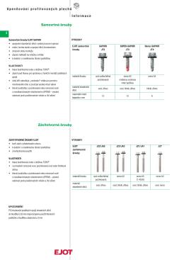 4 Informace Upevňování profilovaných plechů 4 Závitotvorné