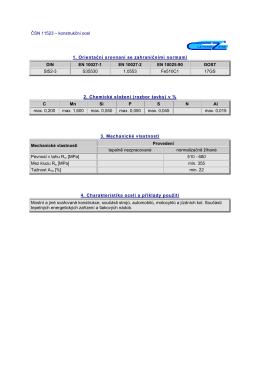 ČSN 11523 – konstrukční ocel 1. Orientační srovnaní se
