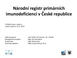Národní registr primárních imunodeficiencí v České republice