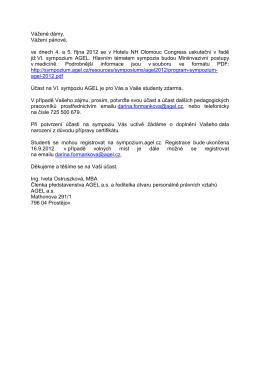 Pozvánka na VI. sympozium AGEL ve dnech 4. - 5. 10. 2012 v