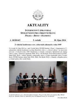 Aktuality č. 10/2014/2 - Společnost pro církevní právo