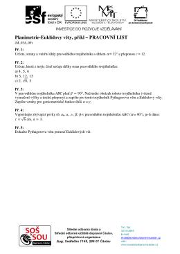 Planimetrie-Euklidovy věty, příkl – PRACOVNÍ LIST