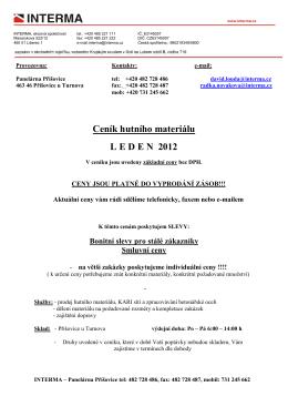 Ceník hutního materiálu L E D E N  2012