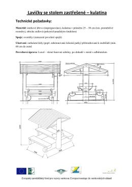 Lavičky se stolem zastřešené – kulatina