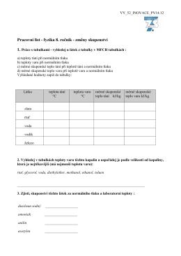 Pracovní list - fyzika 8. ročník - změny skupenství