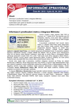 Informační zpravodaj PID č. 06/2015