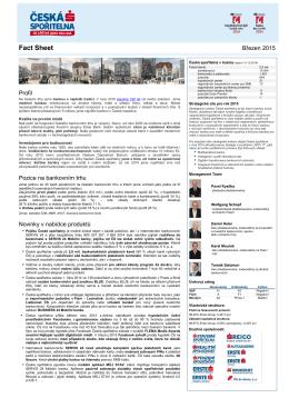 Fact Sheet České spořitelny - listopad 2014