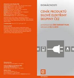 Ceník produktů silové elektřiny Skupiny ČEZ pro
