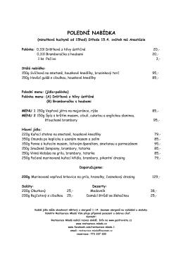 Polední menu - Restaurace MLADÁ