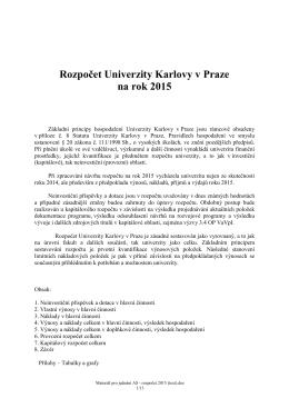 rozpočet 2015 - Univerzita Karlova v Praze