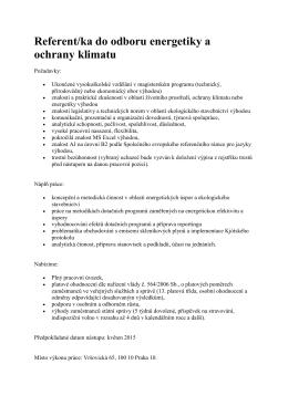 Referent/ka do odboru energetiky a ochrany klimatu