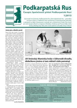 Podkarpatská Rus 1 - stránky společnosti přátel podkarpatské rusi