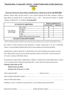 Kritéria pro přijetí dítěte - Mateřská škola Čelakovského