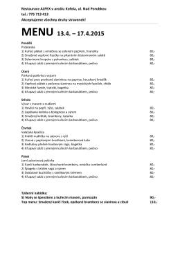 Menu Alpex - Restaurace ALPEX Ostrava