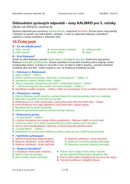 Odůvodnění správných odpovědí – testy KALIBRO pro 5. ročníky 1A
