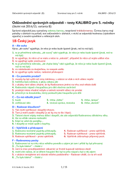 Odůvodnění správných odpovědí – testy KALIBRO pro 5. ročníky 1B