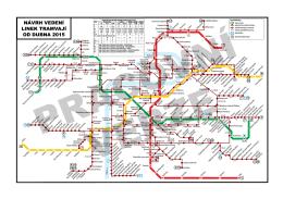 Plánek návrhu vedení linek tramvají