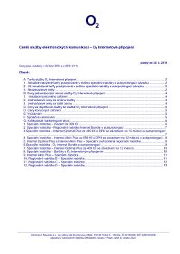Ceník služby elektronických komunikací – O2 Internetové připojení