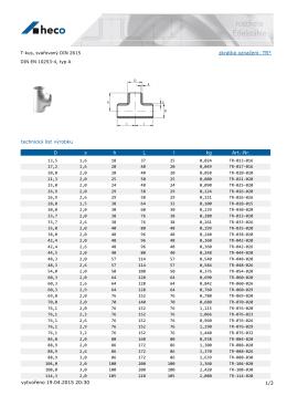 T-kus, svařovaný DIN 2615 DIN EN 10253-4, typ A
