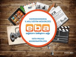 EBA Tanıtım Sunusu - Kahramanmaraş Milli Eğitim Müdürlüğü