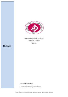 11.Hafta. - Turgut Özal Üniversitesi
