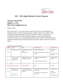 2011 – 2012 Eğitim Öğretim Yılı Ders Programı