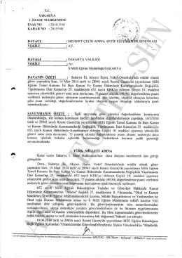 Esastan iptal kararı 2015/948 Sakarya1 için tıklayınız