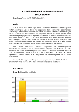 Açık Erişi Farkındalık ve Mumnuniyet Anketi - Ulakbim