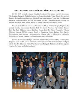 mevlana`dan pedagojik telkinler konferansı