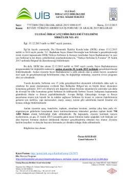 431 __REVİZE TÜRKİYE-SIRBİSTAN İŞ FORUMU 28 ARALIK 2015 BELGRAD