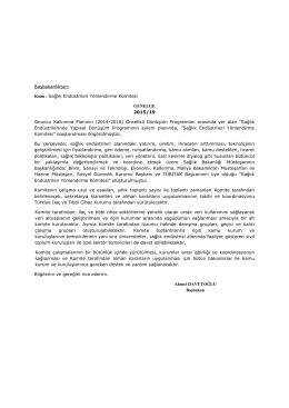 Konu : Sağlık Endüstrileri Yönlendirme Komitesi GENELGE