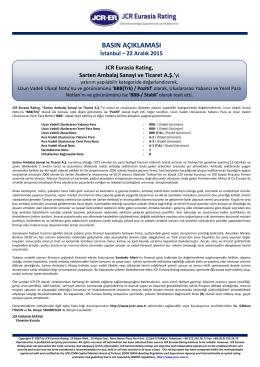 JCR Eurasia Rating, Sarten Ambalaj Sanayi ve Ticaret A.Ş.
