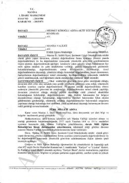 Esastan iptal kararı 2015/871 Manisa1 için tıklayınız