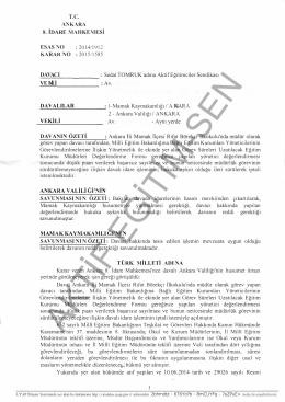 Esastan iptal kararı 2015/1585 Ankara8 için tıklayınız
