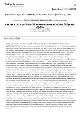 makina kimya endüstrisi kurumu genel müdüdrlüğü(kamu grubu)