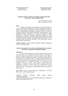 küresel iş dünyasında kültürel farklılıkların yönetimi: türk girişimciliği