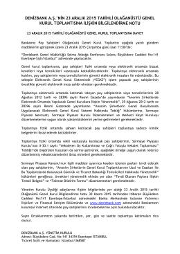 denizbank a.ş.`nin 23 aralık 2015 tarihli olağanüstü genel kurul
