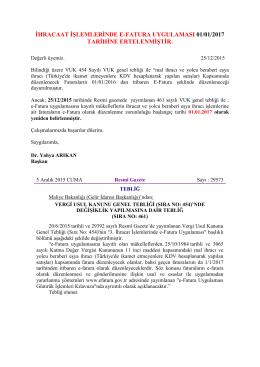 ihracaat işlemlerinde e-fatura uygulaması 01/01/2017 tarihine