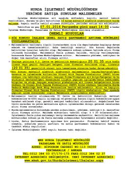 07.01.2016 Tarihli Yerinde Satış (Muhtelif elektrik elektronik hurdası